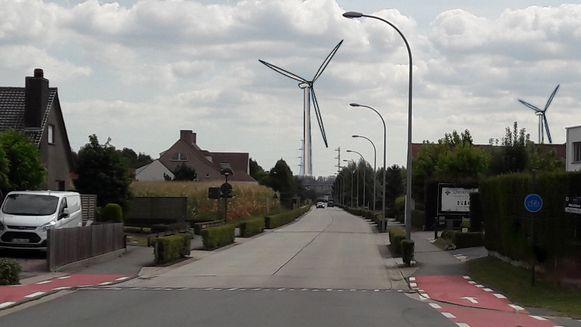 Simulatie van de geplande windturbine aan de Karreweg 42, gezien vanop de Waalstraat.