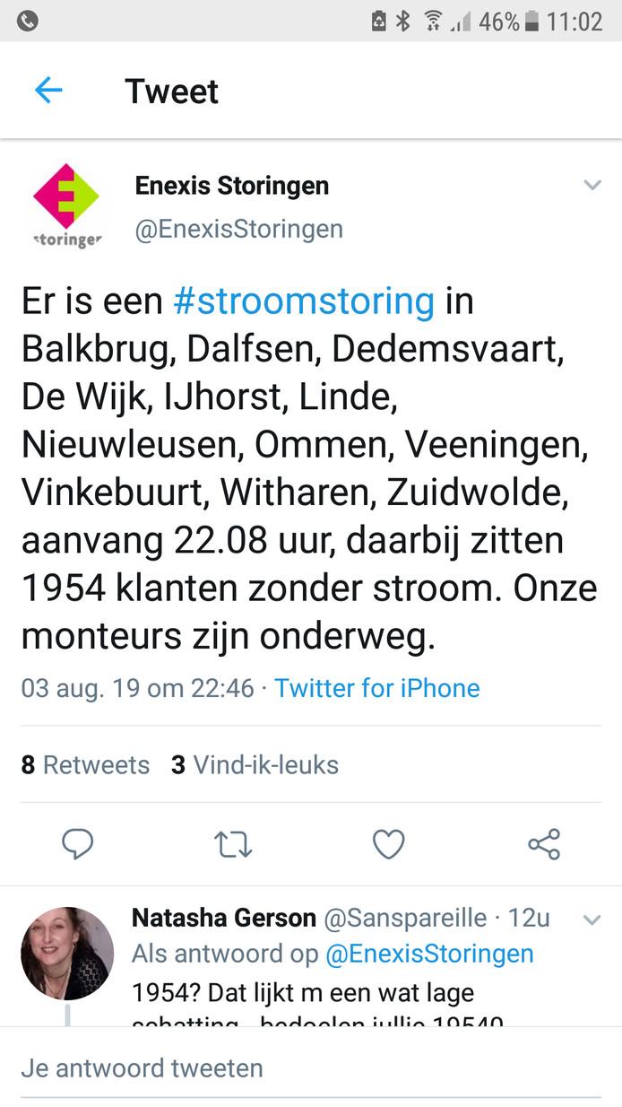 Enexis meldt de storing via Twitter.