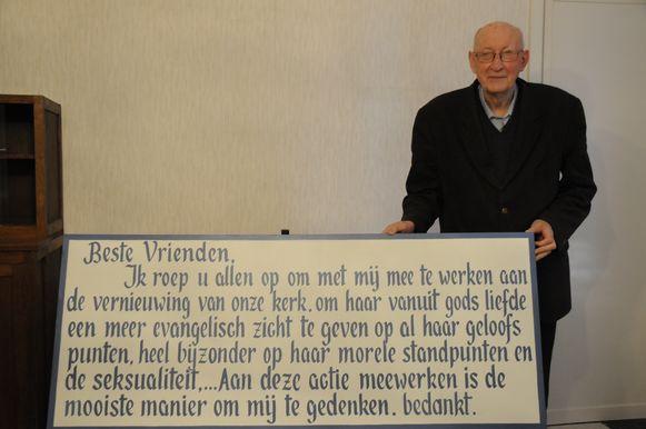 Pastoor op rust Jan Berghmans met zijn oproep.