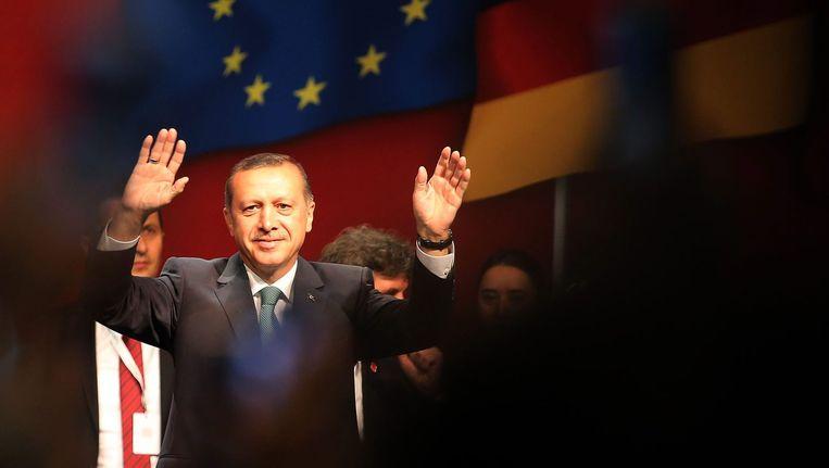 Premier Recep Tayyip Erdogan tijdens zijn speech in Keulen.