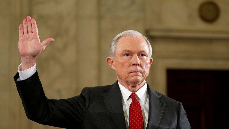 Sessions bij zijn hoorzitting in de Senaat. Beeld null