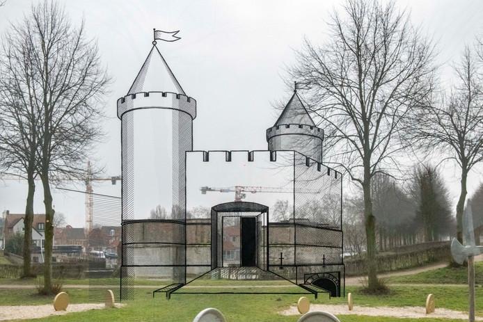 Nieuw doorkijkpaneel Keldermanspoort waar te zien is hoe de poort er vroeger uit zag.