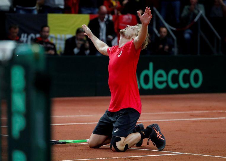 David Goffin tijdens de Davis Cup.