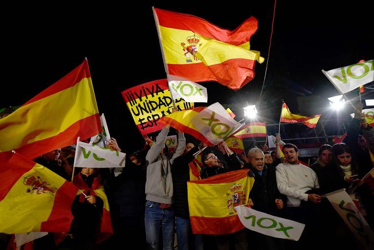 Aanhangers van Vox zwaaien met Spaanse vlaggen.  Beeld AFP