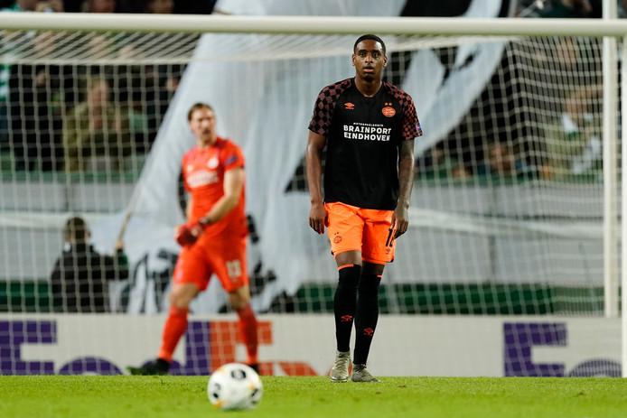 Een teleurgestelde Pablo Rosario tijdens het duel tussen Sporting Lissabon en PSV (4-0).