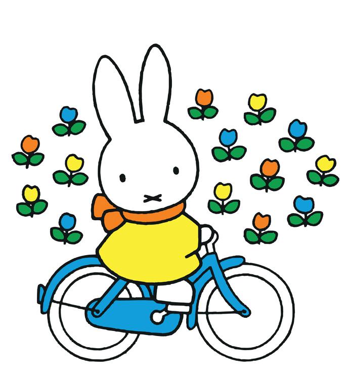 Nijntje op de fiets met een 'gaele' jas aan.