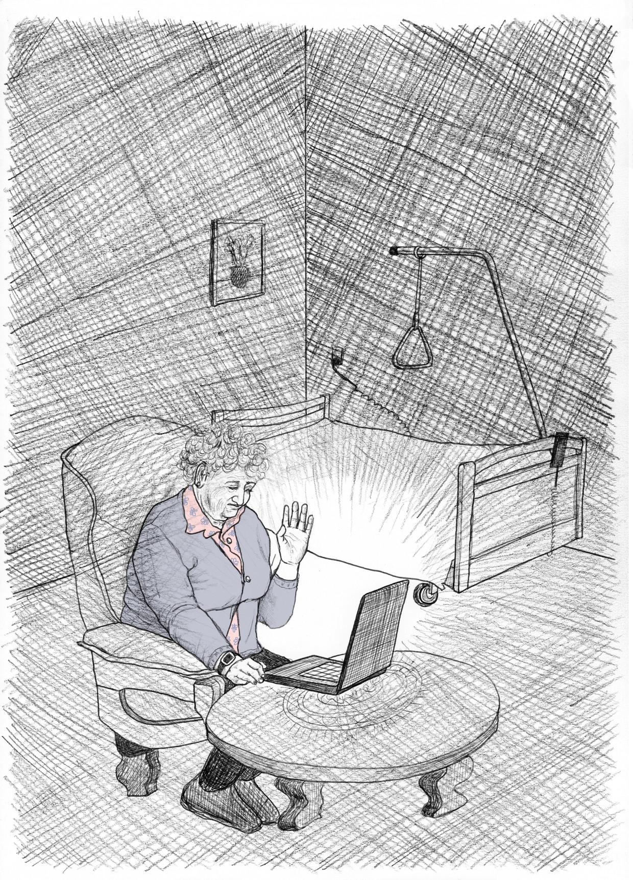 Bejaarden in verzorgingstehuizen zijn eenzaam, en hebben alleen contact met hun dierbaren via social media en skype.