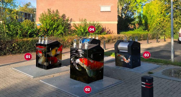 De ontwerpen van Rosalie de Graaf voor de ondergrondse afvalcontainers in de Doesburgse wijk De Ooi.