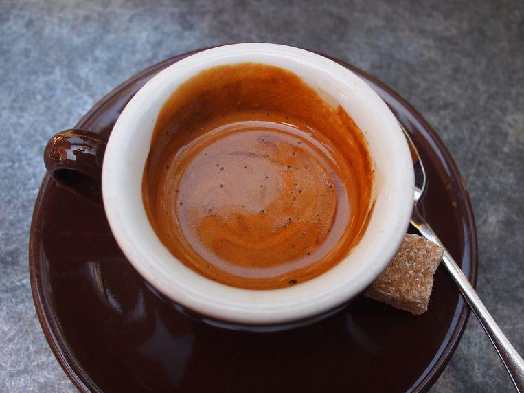 De perfecte espresso heeft een tijgervelletje. Beeld espresso