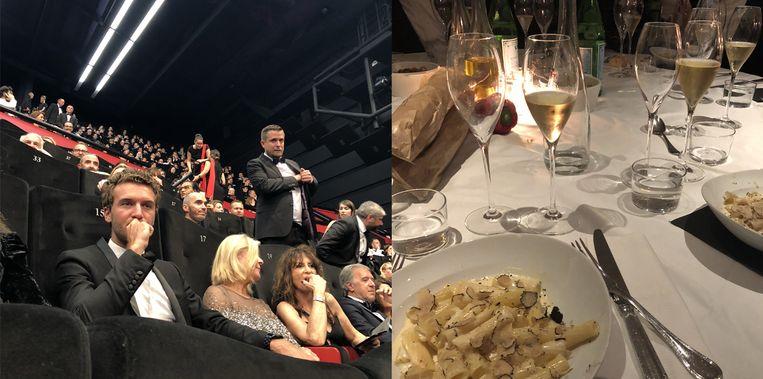 Een blik in de zaal tijdens de officiële screening en een foto van het feestmaal overgoten met champagne.