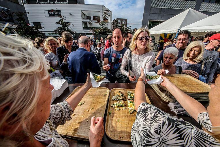 Bezoekers op de Veemarkt konden genieten van een lekkere quiche met ricotta.