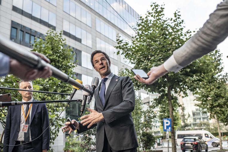 Rond half zeven vanochtend geeft Mark Rutte een persconferentie. Beeld ANP