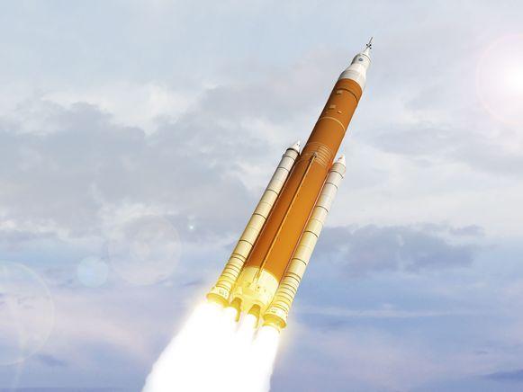 NASA verspreidde al wel beelden die tonen hoe de nieuwe SLS-raket eruit zou zien.