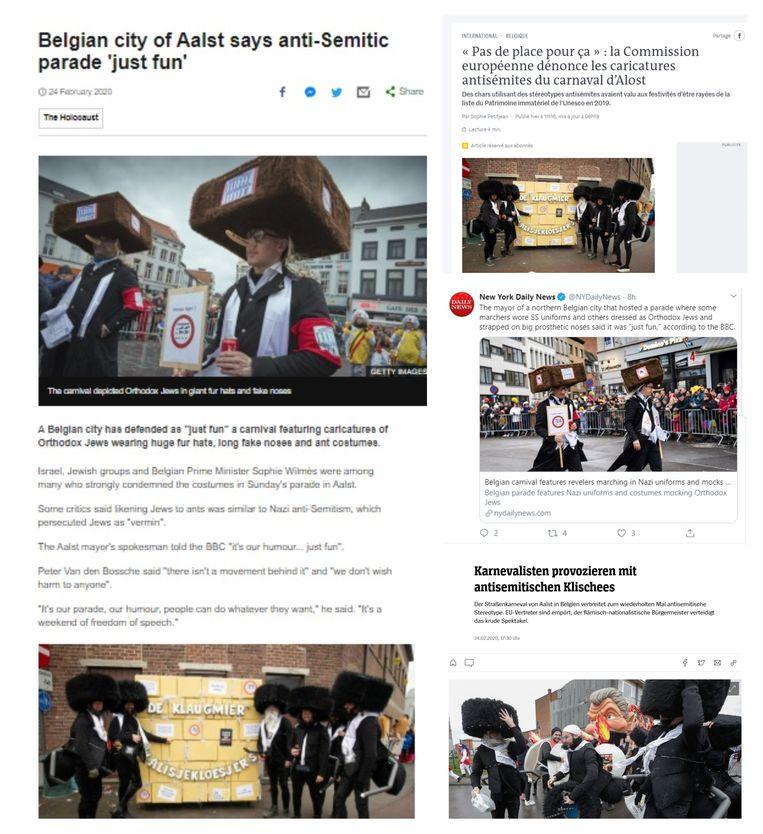 Het Britse 'BBC News', het Franse 'Le Monde', de Amerikaanse krant 'New York Daily News' en het Duitse  'Der Spiegel' berichten over de Joodse karikaturen op Aalst Carnaval.