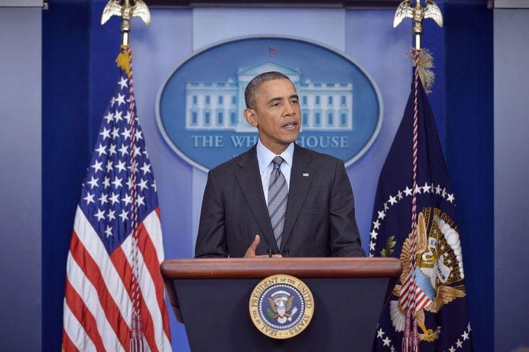 Barack Obama spreekt over de situatie in Oekraïne. Beeld afp