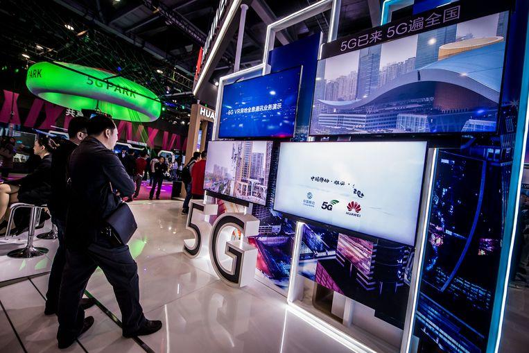 Stand van Huawei met 5G-producten in de Chinese stad Guangzhou, december 2018. Beeld HH