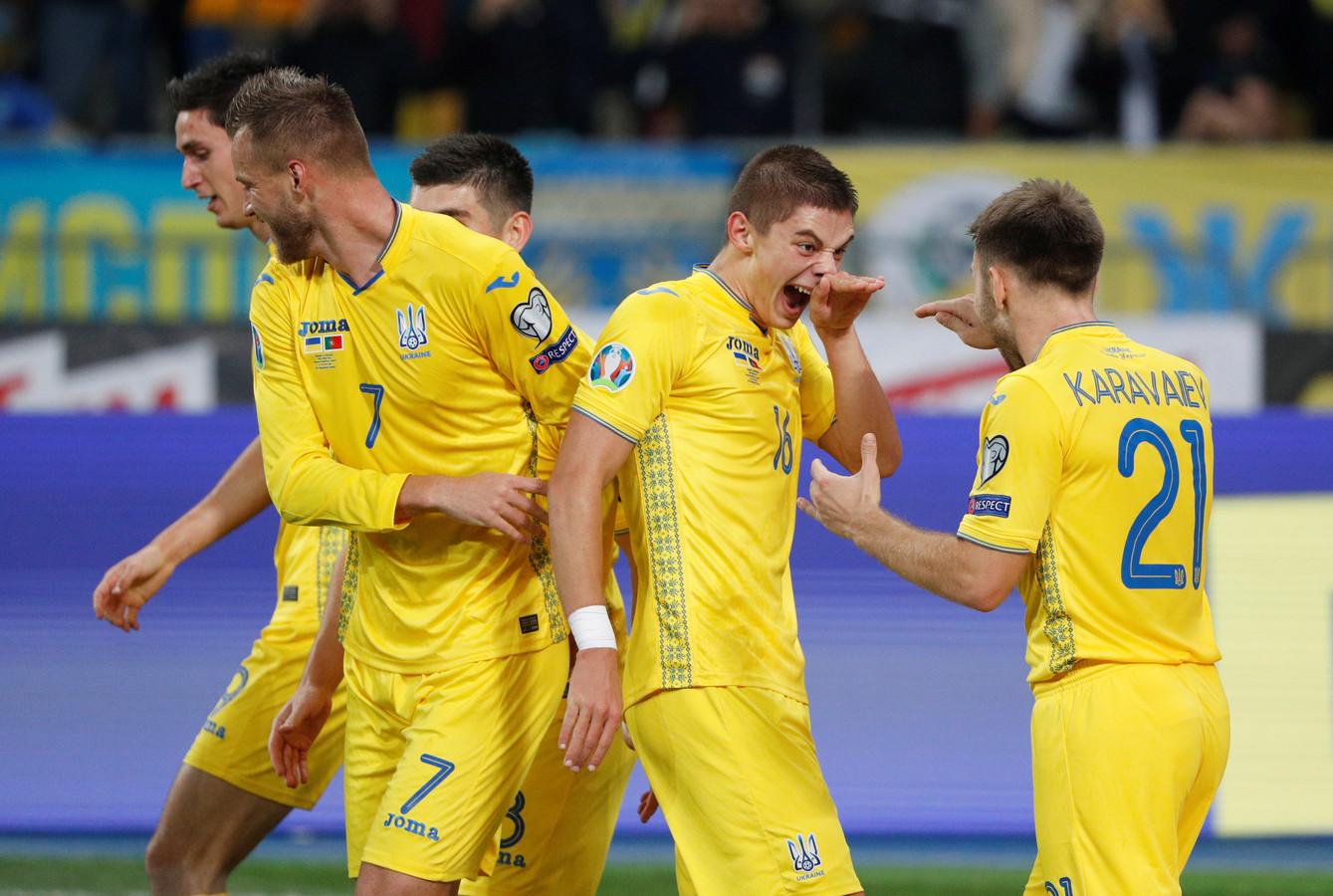 Feest bij de Oekraïnse spelers.