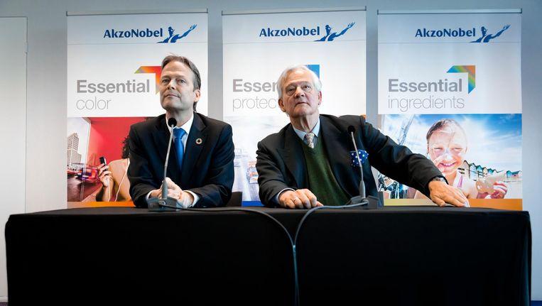 CEO Ton Buchner en de voorzitter van de Raad van Commissarissen Antony Burgmans van AkzoNobel. Beeld anp