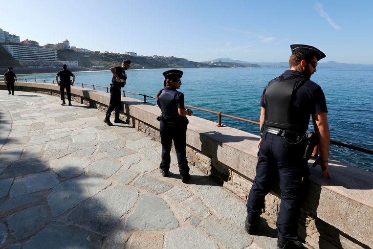 De Franse badplaats Biarritz is voor de G7-top omgetoverd tot een zwaarbewaakt fort. Beeld REUTERS