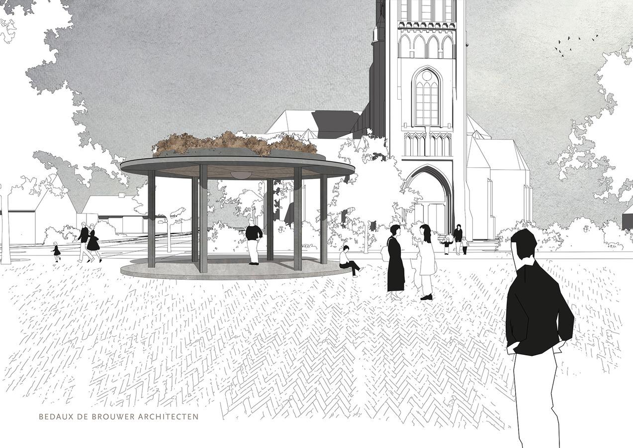Het winnende voor de nieuwe kiosk op het Mgr. Bekkersplein in Haaren moet er voor het einde va dit jaar staan.