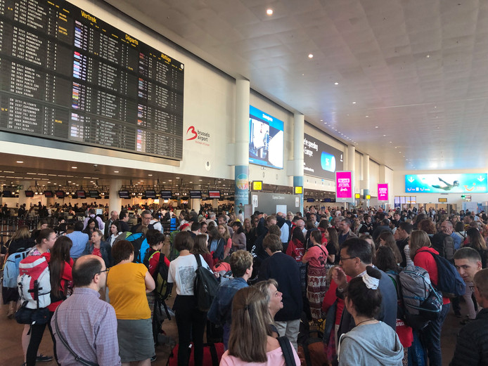 Illustration picture shows  disrupted air traffic at Brussels national airport in Zaventem, during a strike of ground and cargo handling company Swissport, Tuesday 02 July 2019, in Zaventem. BELGA PHOTO HANS VANDENDRIESSCHE