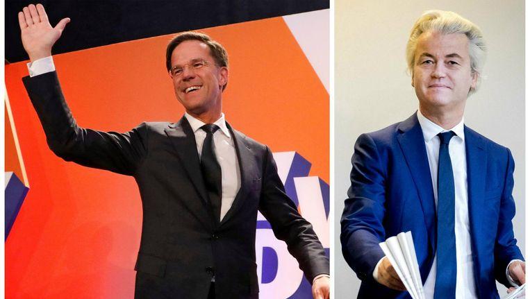 Mark Rutte (VVD) wuift zijn achterban tevreden toe. Hij heeft de overwinning al opgeëist. Geert Wilders (PVV) is teleurgesteld in het aantal behaalde zetels, maar noemt zich met 19 zetels wel een winnaar.
