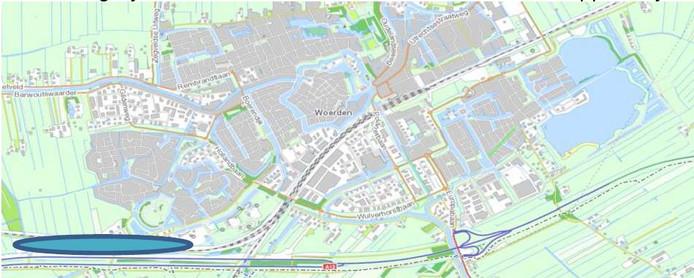 Indicatieve locatie tweede NS-station Woeden en Transferium