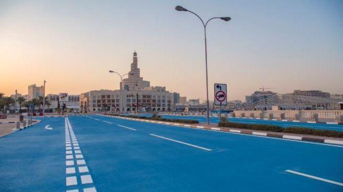 Blauwe straten in Doha