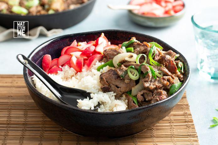 Koreaanse bulgogi rice bowl