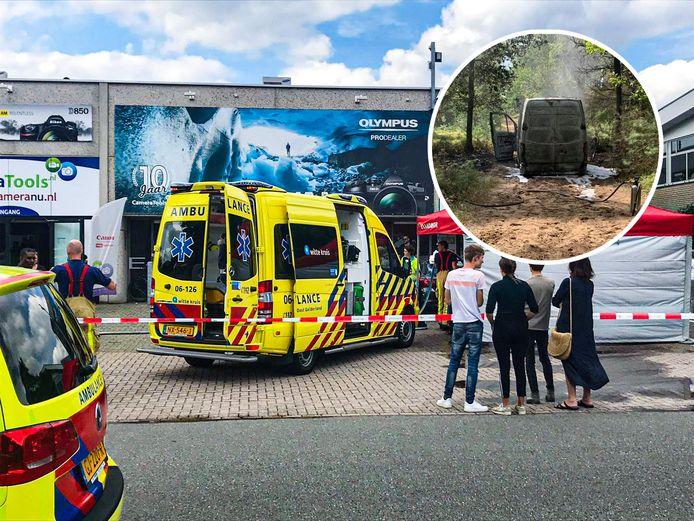 Na de overval schoten politie, ambulance en brandweer te hulp bij de vestiging van Cameratools in Apeldoorn. De vermoedelijke vluchtauto werd uitgebrand teruggevonden in een bos.