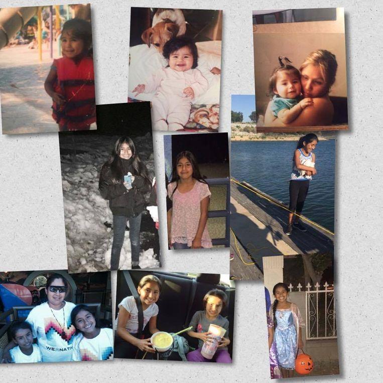 Een collage met foto's van Rosalie die haar mama op Facebook postte.