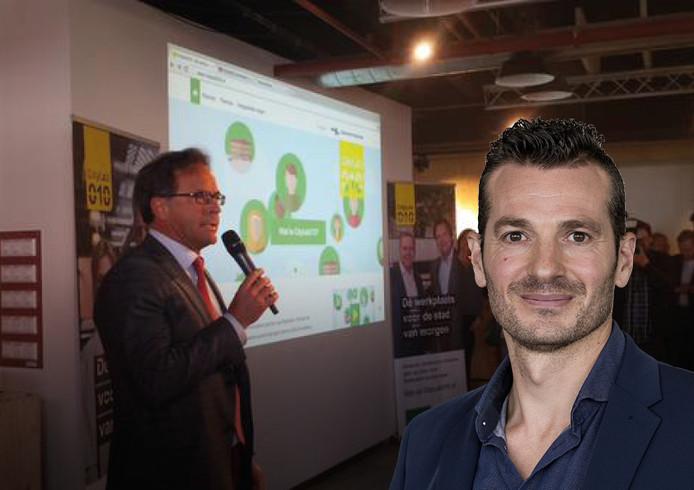 Wethouder Pex Langenberg bij de presentatie van de website van CityLab010. Verslaggever Leon van Heel op de voorgrond rechts.