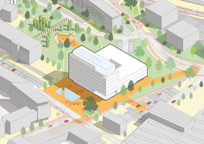 Schets van het nieuwe Huis voor de Stad in Helmond