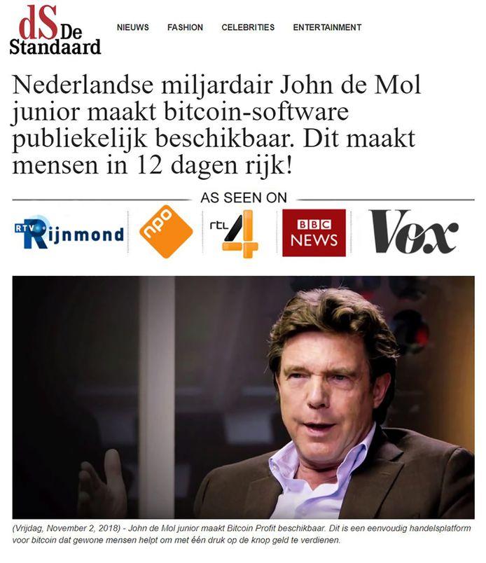 Een nep-advertentie Bitcoins met John de Mol.