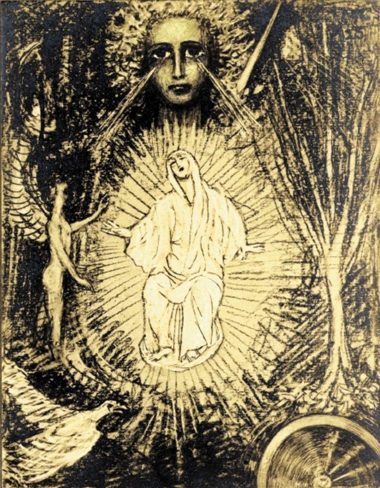 Tekening van Marie Creemers, een vrouw uit de kring rond Albert Verwey, gemaakt in 1925 na het lezen van diens vertaling van ¿De vizioenen van Hadewych¿. ( COLLECTIE UVA) Beeld