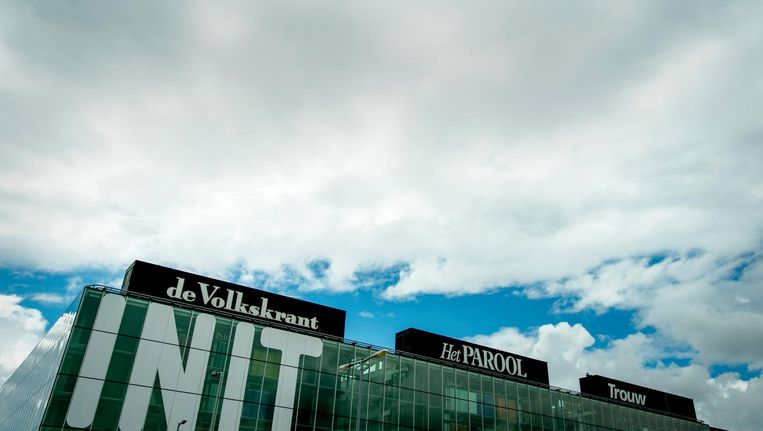 Exterieur van het gebouw waar de redacties van de Volkskrant, Het Parool en Trouw ondergebracht zijn. Beeld anp