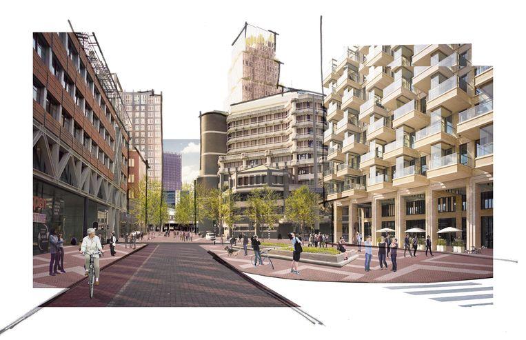 Impressie van de 'Haagse Loper' vanaf Den Haag Centraal richting de wijk Bezuidenhout. Beeld Gemeente Den Haag
