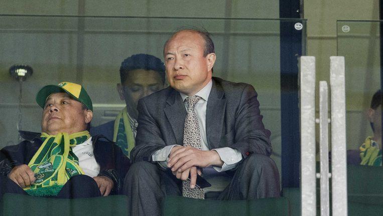 De Chinese eigenaar Hui Wang van ADO Den Haag op de tribune. Beeld anp