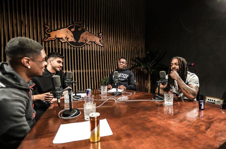 Convo vanuit de Red Bull Studio in Amsterdam-Oost, met Yuki Christus, Armin Shah en Défano Holwijn gast Kempi (rechts). Beeld Eva Plevier