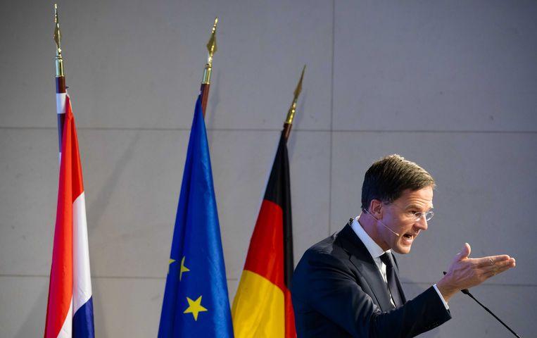 Mark Rutte tijdens de Europa-lezing in Berlijn, vorig jaar maart. Beeld ANP