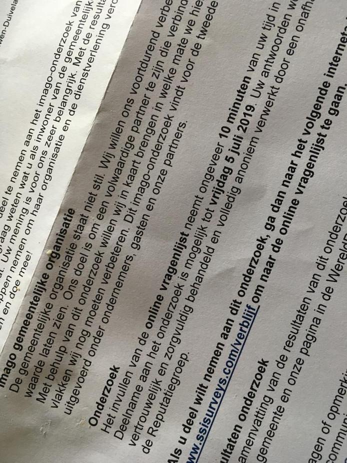 De brief die naar verschillende huishoudens op Schouwen-Duiveland is gestuurd