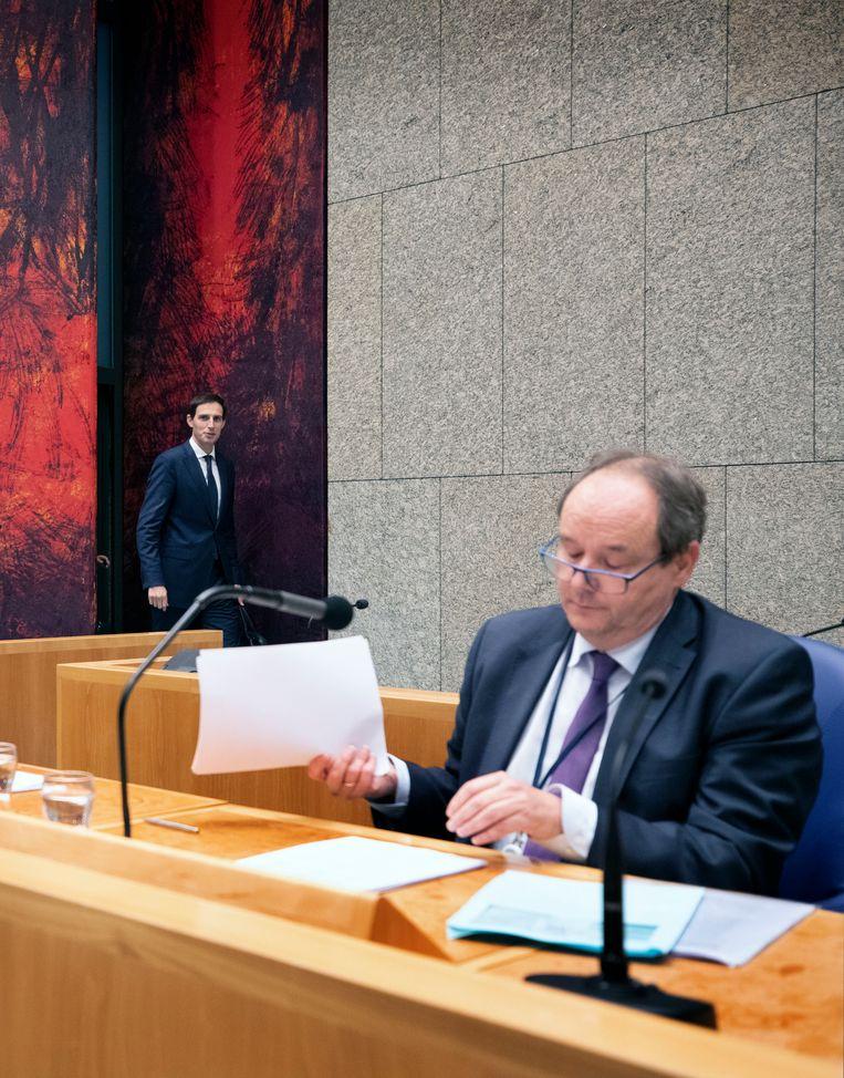 Staatssecretaris Alexander Vijlbrief tijdens de Algemene Financiële Beschouwingen.  Beeld Werry Crone