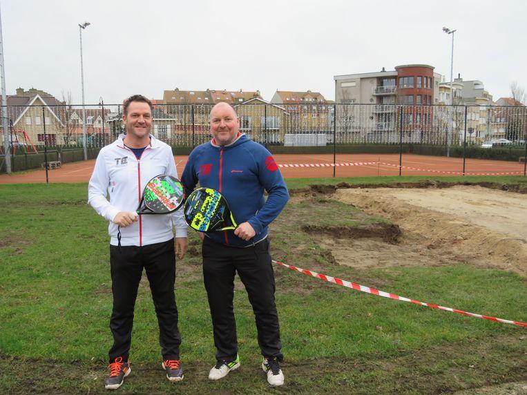 Peter Buyle en Tom Dermaut van TC Parc Astrid zijn verheugd met de komst van het padelterrein