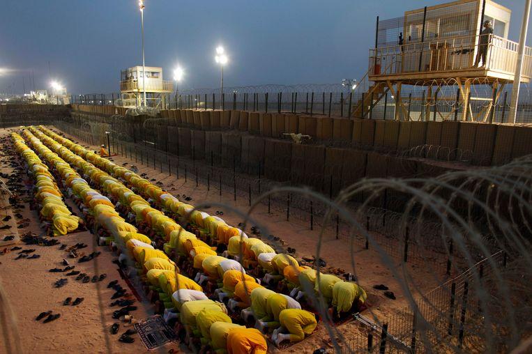 Camp Bucca in 2009. Al-Baghdadi zat een tijd gevangen in de grootste Amerikaanse militaire gevangenis in Irak. Beeld ap