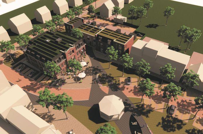 De twee blokken van het Raadhuys met het aangepaste plein vanuit de lucht bezien.