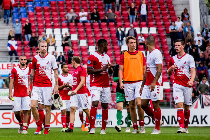 De spelers van FC Utrecht druipen af.