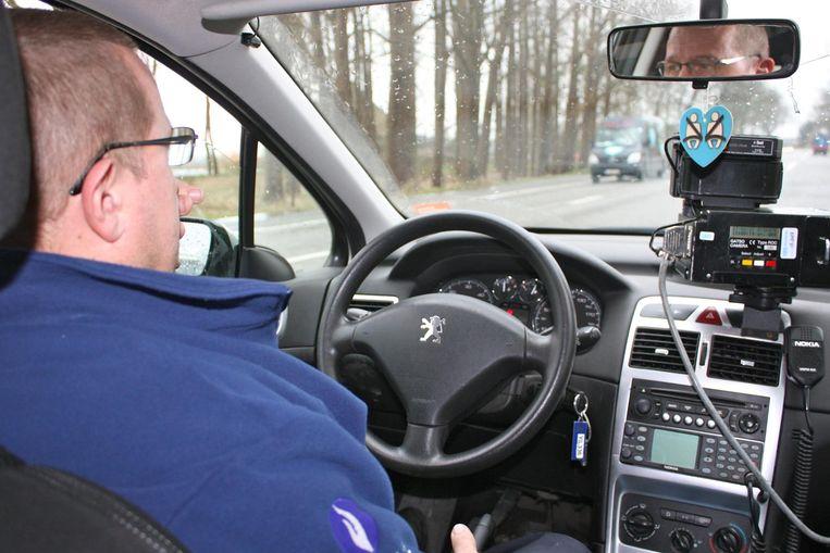 De politie voerde gisteren snelheidscontroles uit.