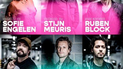 Ruben Block, Tim Van Aelst en Stijn Meuris achter de microfoon bij Radio Willy