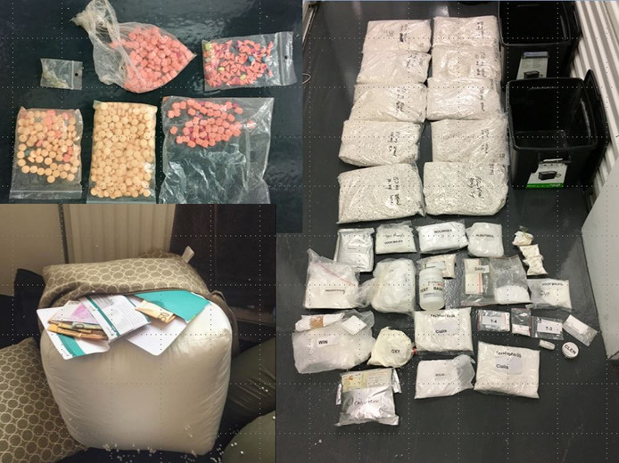 De FIOD nam onder meer xtc-pillen, anabole steroïden en contant geld - verstopt in een poef - in beslag.