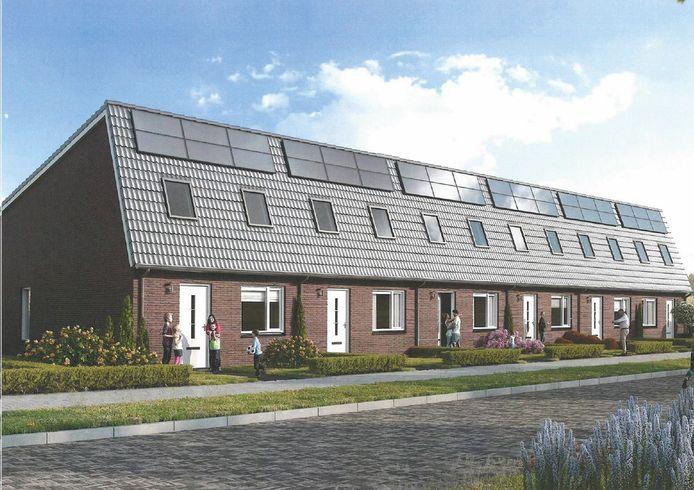 Een deel van de nieuwe, duurzame woningen die in 2022 aan de Witvoetenstraat en Gravenstraat staan.